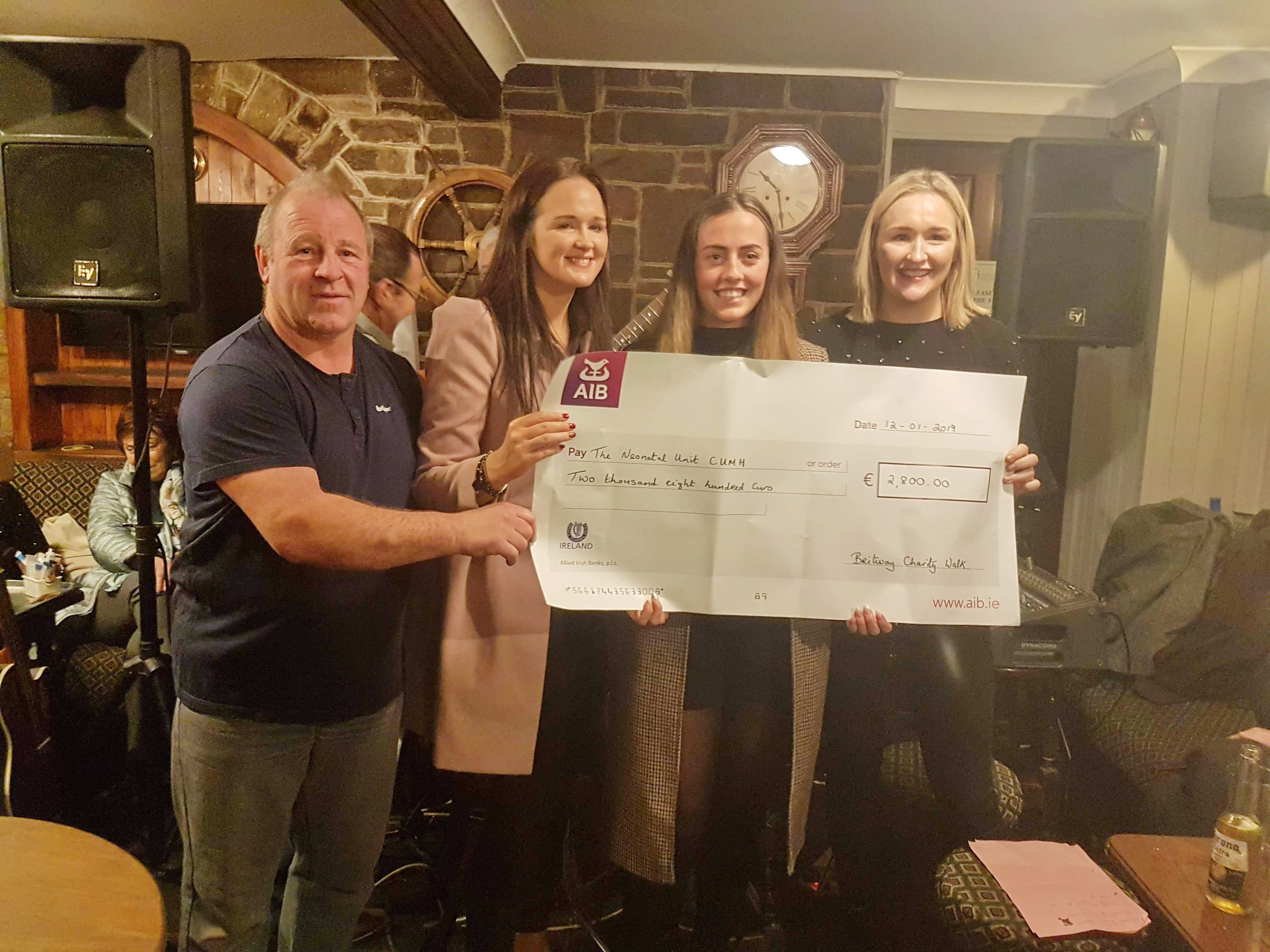 Presentation of Cheque to Cork University Hospital Neonatal Unit and